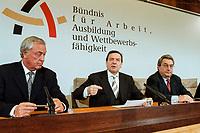 09 JAN 2000, BERLIN/GERMANY:<br /> Dieter Schulte, Vorsitzender Deutscher Gewerkschaftsbund, DGB, Gerhard Schr&ouml;der, SPD, Bundeskanzler, und Dieter Hundt, Pr&auml;sident Bundesvereinigung der Deutschen Arbeitgeberverb&auml;nde, BDA, w&auml;hrend der Pressekonferenz zum 5. Spitzengespr&auml;ch B&uuml;ndnis f&uuml;r Arbeit; Bundeskanzleramt<br /> IMAGE: 20000109-01/02-29<br /> KEYWORDS: Gerhard Schroeder, Buendnis