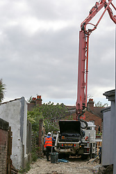© Licensed to London News Pictures. 11/05/2020. London, UK. A concrete pump on a building site in north London as construction workers return to work. Prime Minister Boris Johnson in his televised address to the nation from Downing Street has urged construction workers to return to work as he announced a very limited relaxation of the lockdown measures imposed in March to fight the coronavirus. Photo credit: Dinendra Haria/LNP