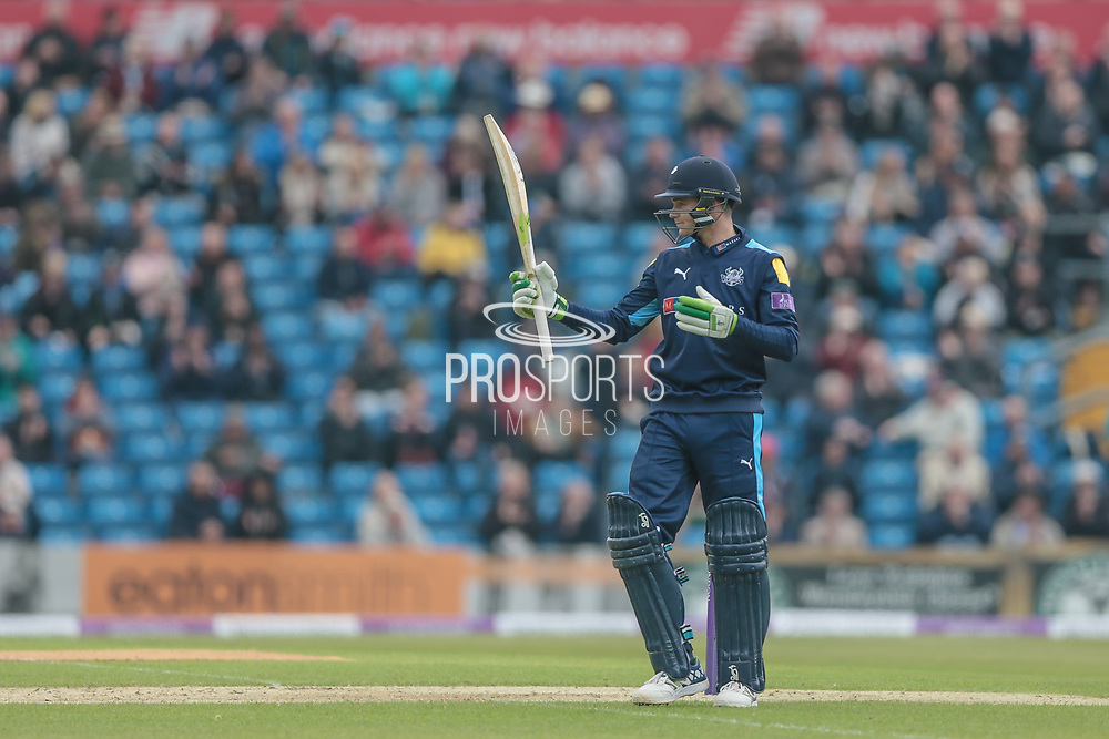 Peter Handscomb (Yorkshire Vikings) reaches his half century, 50 not out with 18 overs remaining during the Royal London 1 Day Cup match between Yorkshire County Cricket Club and Lancashire County Cricket Club at Headingley Stadium, Headingley, United Kingdom on 1 May 2017. Photo by Mark P Doherty.