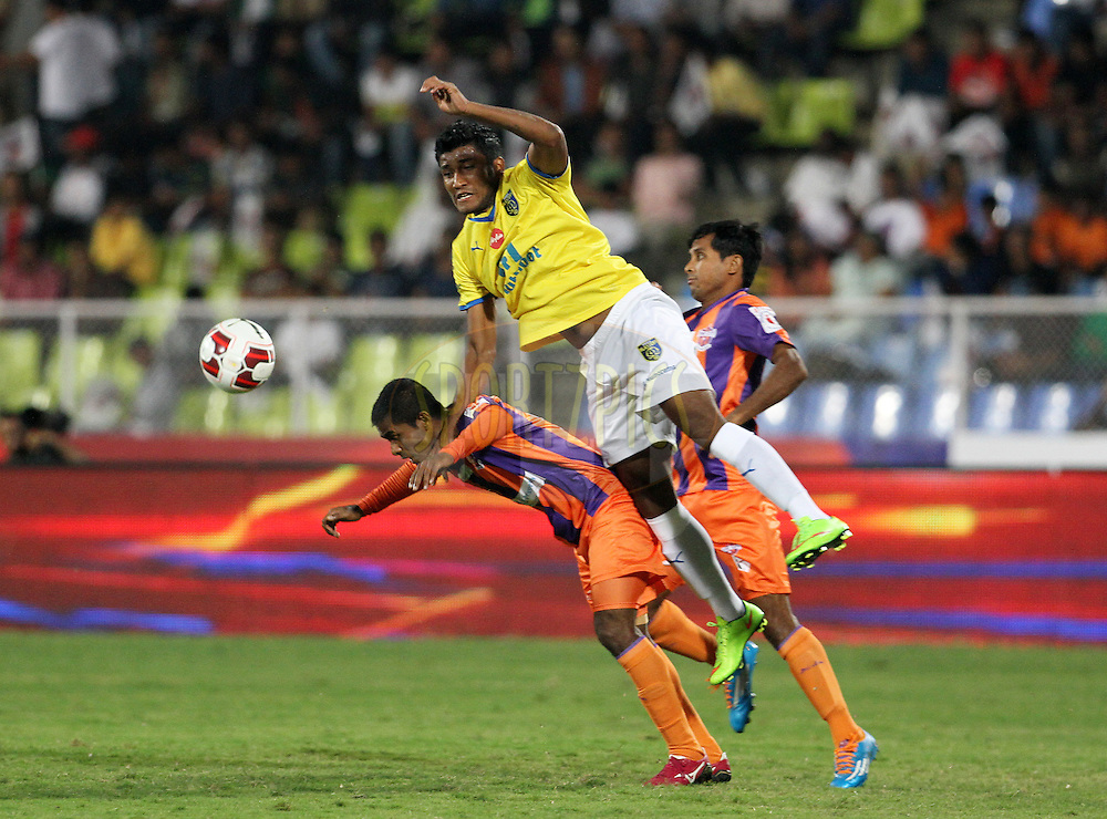 Nirmal Chettri of Kerala Blasters FC in action during match 17 of the Hero Indian Super League between FC Pune City and Kerala Blasters FC held at the Shree Shiv Chhatrapati Sports Complex Stadium, Pune, India on the 30th October 2014.<br /> <br /> Photo by:  Vipin Pawar/ ISL/ SPORTZPICS