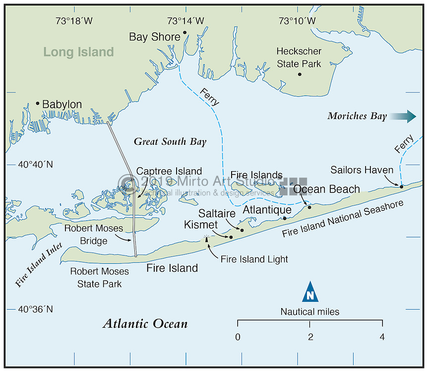 Vector map of Fire Island, New York
