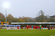 Crawley Town and Cambridge United hold a minute of silence before kick off during the EFL Sky Bet League 2 match between Crawley Town and Cambridge United at the Checkatrade.com Stadium, Crawley, England on 12 November 2016. Photo by Andy Walter.