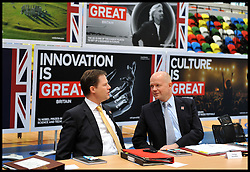 Deputy Prime Minister Nick Clegg and Foreign Secretary William Hague talk as Britain's Prime Minister David Cameron holds a cabinet meeting in the handball arena at the 2012 Olympic Games site London. As the London Olympics countdown enters its final 200 days Cameron highlighted the 'lasting legacy' the London 2012 Olympics will leave, with further venues securing long-term running contracts, Monday January 9, 2012. Photo By Andrew Parsons/ i-Images