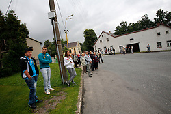 CZECH REPUBLIC VYSOCINA NEDVEZI 30JUL11 - Locals and visitors watch voluntary firemen and dignitaries from the village of Nedvezi lay a wrath to commemorate fallen WW I soldiers who were born in the village...This year marks the 120th anniversary of the voluntary firemen in Nedvezi, Vysocina, Czech Republic.....jre/Photo by Jiri Rezac....© Jiri Rezac 2011
