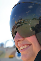 An F-15I fighter jet of Israeli Air Force (IAF) is reflected on the helmet of a female graduate of Class 165 of IAF s Flight School at Hatzerim base near Beersheva, south Israel, December 27, 2012. Photo by Imago / i-Images...UK ONLY