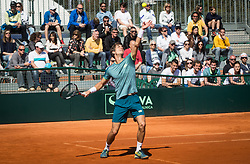 Aljaz Bedene of Slovenia playing doubles during Davis Cup 2018 Europe/Africa zone Group II between Slovenia and Turkey, on April 8, 2018 in Portoroz / Portorose, Slovenia. Photo by Vid Ponikvar / Sportida
