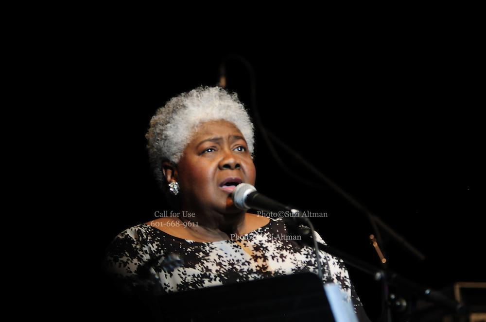 (Jackson-Mississippi) Grammy award winner and Jackson Mississippi native Dorothy Moore, sings at the first annual Southern Crossroads Music &Tamale Festival Saturday August 11,2012. She was also presented by a proclamation from the mayor of Jackson.  Singer Hope Waits a Louisiana native also performed at the festival. Photo© Suzi Altman.