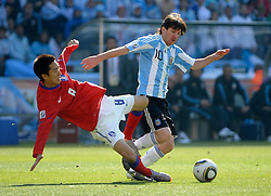 17.06.2010, Soccer City Stadium, Johannesburg, RSA, FIFA WM 2010, Argentinien vs Südkorea im Bild Lionel Messi of Argentina  in action with KIM Jung Woo of South Korea, EXPA Pictures © 2010, PhotoCredit: EXPA/ IPS/ Mark Atkins / SPORTIDA PHOTO AGENCY
