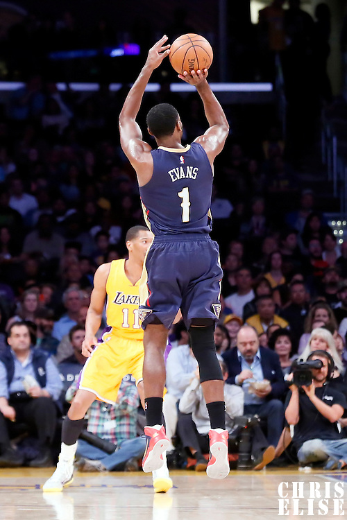 01 April 2015: New Orleans Pelicans guard Tyreke Evans (1) takes a jump shot during the New Orleans Pelicans 113-92 victory over the Los Angeles Lakers , at the Staples Center, Los Angeles, California, USA.