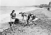 France c 1900 Beach scene with children