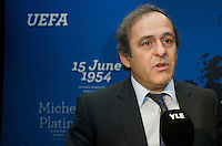 Michel Platini attend at opening of Turku-European Capital of Culture 2011. after his speech he answered to questions by journalist and audience. January 14th, 2011, Turku, Finland. .