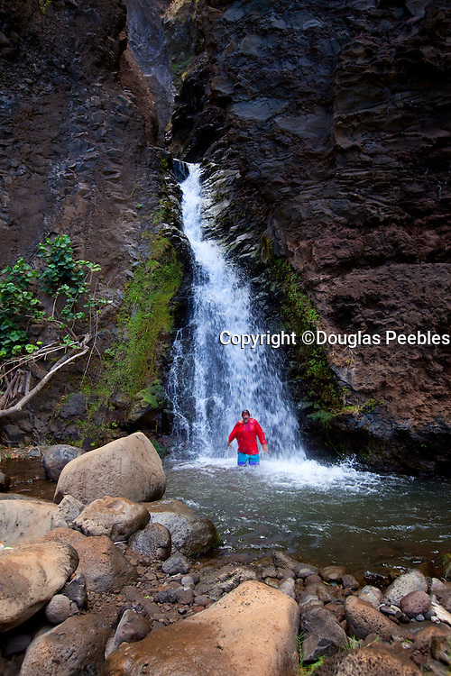 Waterfall, Honopu Beach, Napali Coast, Kauai, Hawaii
