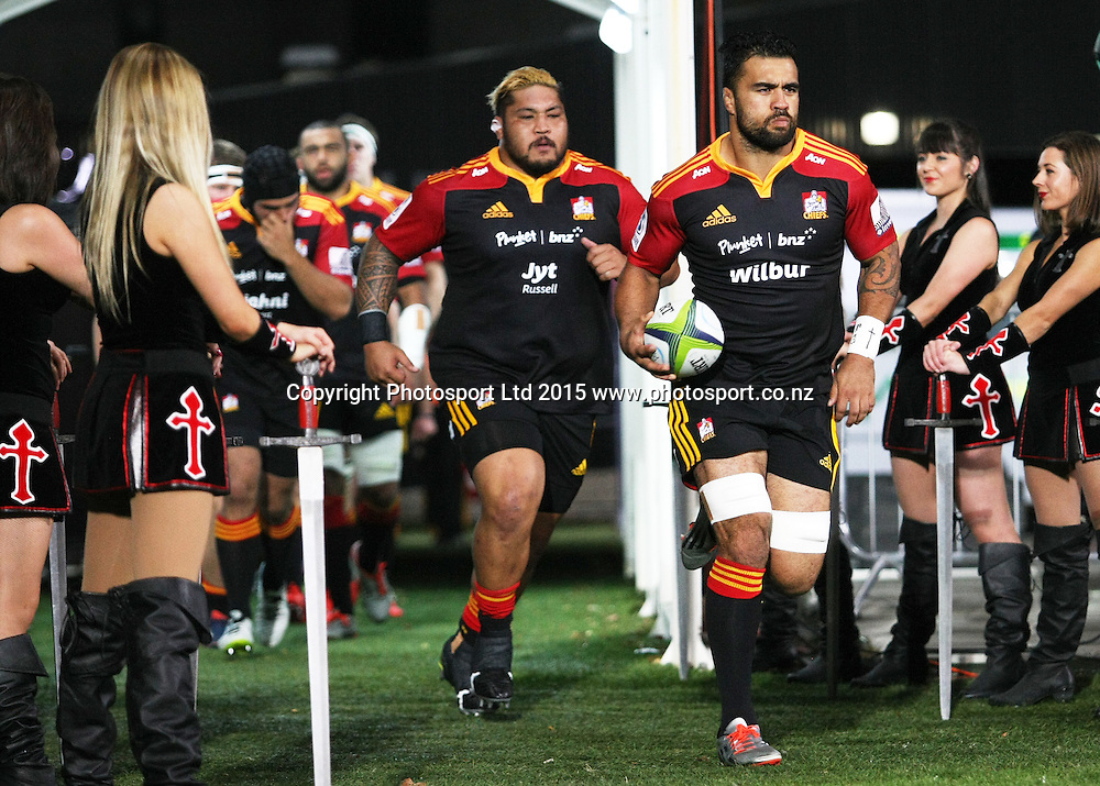 Liam Messam of the Chiefs leads the team onto the field before the Investec Super Rugby game between the Crusaders v Chiefs at AMI Stadium i Christchurch. 17 April 2015 Photo: Joseph Johnson/www.photosport.co.nz