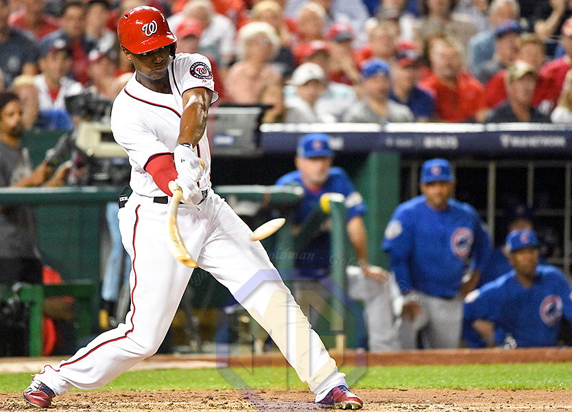 WASHINGTON, DC - OCTOBER 06: Washington Nationals center fielder Michael Taylor (3) in action in the first game of the National League Division Series on October 6, 2017  at Nationals Park in Washington, D.C.  The Chicago Cubs defeated the Washington Nationals, 3-0. (Photo by Mark Goldman/Icon Sportswire)