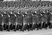 Beijing, China 1 October 1999 - Chinese female soldiers march with guns as part of the 50th anniversary celebration of the founding of the People's Republic of China.