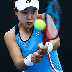 Tennis: open de Melbourne. (200120) -- MELBOURNE, Jan. 20, 2020 (Xinhua) -- Zhu Lin of China hits a return to Viktorija Golubic of Switzerland during their women's singles first round match at the Australian Open tennis championship in Melbourne, Australia on Jan. 20, 2020. (Xinhua/Zhu Hongye)<br /> <br /> <br /> <br /> 250084 2020-01-20  Melbourne <br /> <br /> Photo by Icon Sport - Zhu LIN