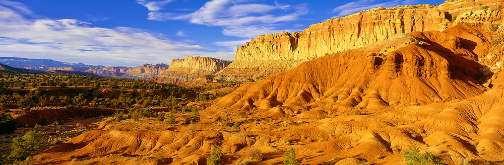 0304-1002 ~ Copyright:  George H. H. Huey ~ The west face of the Waterpocket Fold.  Capitol Reef National Park, Utah.