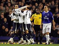 Photo: Paul Thomas.<br /> Everton v Tottenham Hotspur. The Barclays Premiership. 21/02/2007.<br /> <br /> Dimintar Berbartov (L) and Tottenham celebrate his goal.
