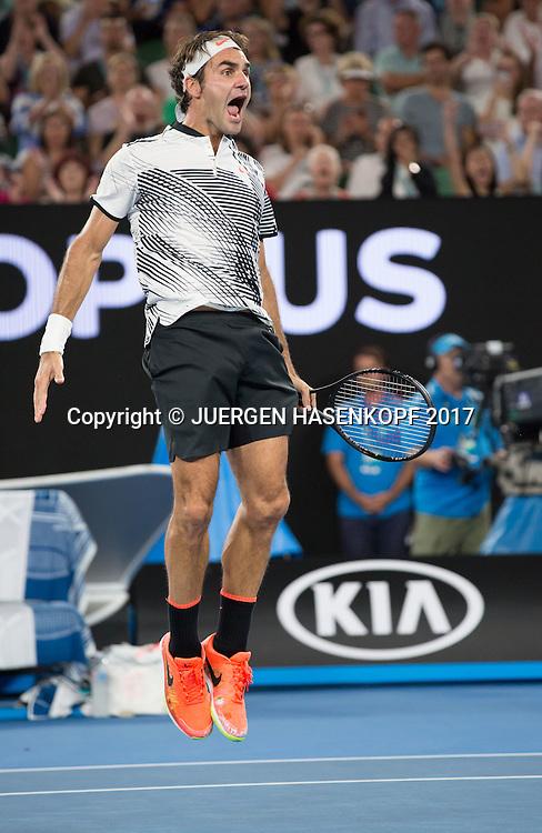 ROGER FEDERER (SUI) jubelt nach seinem Sieg,Jubel,Freude,Emotion,<br /> <br /> Australian Open 2017 -  Melbourne  Park - Melbourne - Victoria - Australia  - 22/01/2017.