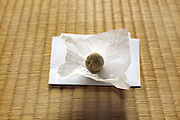 round Japanese sweet on transparent paper on tatami floor