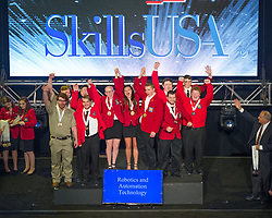 The 2017 SkillsUSA National Leadership and Skills Conference Competition Medalists were announced Friday, June 23, 2017 at Freedom Hall in Louisville. <br /> <br /> Robotics and Automation Technology<br /> <br /> Team C (consisting of Stephanie Schroth, Joselyn Rabbitt)<br />   High School Polaris Career Center<br />   Gold Middleburg Heights, OH<br /> Robotics and Automation TechnologyTeam A (consisting of Brady Rasco, Andrew Teague)<br />   High School Hillyard Tech Center<br />   Silver Saint Joseph, MO<br /> Robotics and Automation TechnologyTeam M (consisting of Steven Alger, Bryan Desrosiers)<br />   High School Blackstone Valley RVTHS<br />   Bronze Upton, MA<br /> Robotics and Automation TechnologyTeam B (consisting of Luis Melendez-Novas, Jesse Connell)<br />   College Lanier Technical College<br />   Gold Oakwood, GA<br /> Robotics and Automation TechnologyTeam D (consisting of Nicholas Fuson, Jordan Wilkey)<br />   College Tennessee College of Applied Tech-Chattanooga<br />   Silver Chattanooga, TN<br /> Robotics and Automation TechnologyTeam F (consisting of Steven Ballard, Landon Warnock)<br />   College Wallace State College<br />   Bronze Hanceville, AL