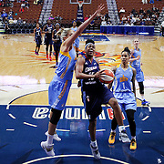 UNCASVILLE, CONNECTICUT- MAY 05:  Tiffany Hayes #15 of the Atlanta Dream drives to the basket defended by Elena Delle Donne #11 of the Chicago Sky during the San Antonio Stars Vs Connecticut Sun preseason WNBA game at Mohegan Sun Arena on May 05, 2016 in Uncasville, Connecticut. (Photo by Tim Clayton/Corbis via Getty Images)