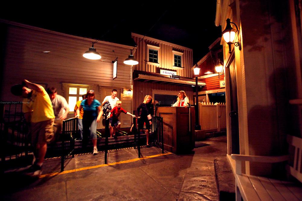 "Orlando, Florida, USA, 20090325:   The Disney EPCOT Center in Orlando. Visitors exiting a ""viking ship"" ride at the Norway Pavillion. Photo: Orjan F. Ellingvag/ Dagbladet/ Corbis"