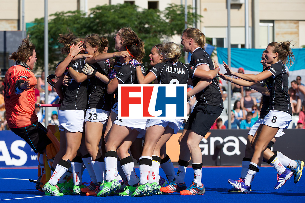 RIO 2016 Olympic qualification, Hockey, Women, match for the third place, Germany vs Argentina : team Germany celebrates the qualification to Rio