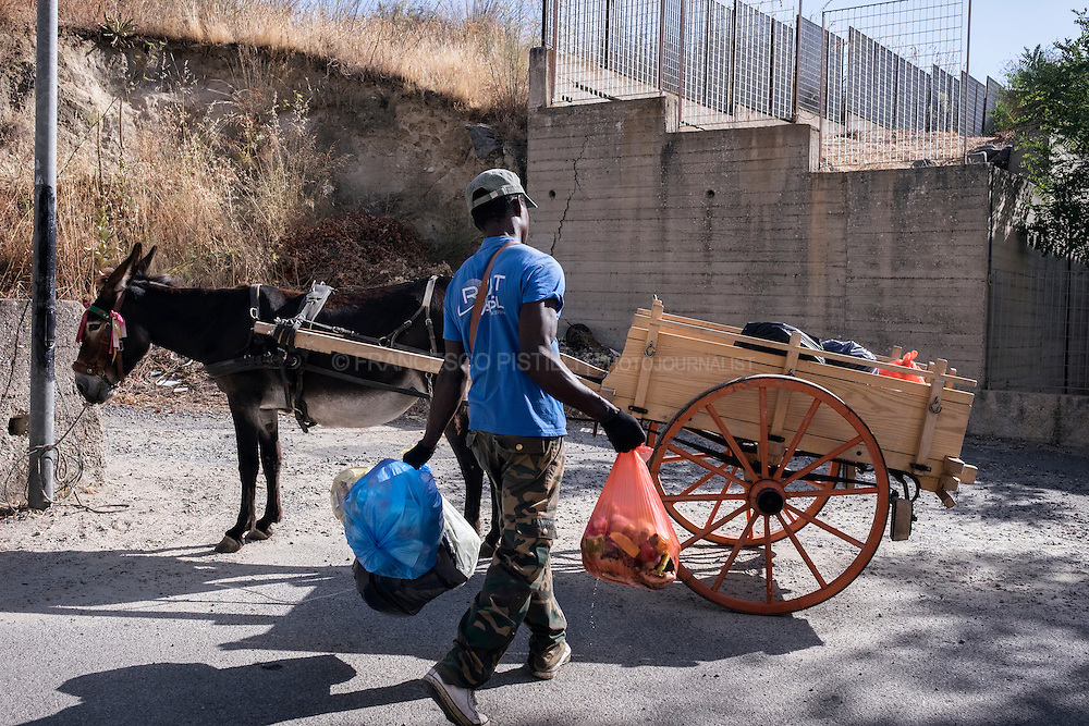 Daniel from Senegal collecting waste with donkeys. This is a UE funds project about integration of refugees: garbage removal and recycle using a donkey-drawn cart. Daniel is from Ghana, he arrived in Riace with his wife 7 years ago, because problem with  their marriage, they come from a Muslim family and Christian family. RIACE (ITALY) 01/08/16