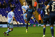 Rollin Menayese and Michael Rose jump for the ball during the The FA Cup third round replay match between Coventry City and Bristol Rovers at the Trillion Trophy Stadium, Birmingham, England on 14 January 2020.
