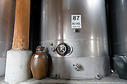 Photo shows one of the massive vats inside the Chuko distillery in Naha, Okinawa Prefecture, Japan, on May 20, 2012. Photographer: Robert Gilhooly