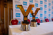 The men's and women's Tour De Yorkshire trophy's on display during the Eve of tour press conference ahead of the first stage of the Tour de Yorkshire in the Leeds Civic Hall, Leeds, United Kingdom on 1 May 2019.