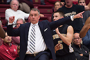 November 14, 2014; Stanford, CA, USA; Wofford Terriers head coach Mike Young reacts during the first half against the Stanford Cardinal at Maples Pavilion.