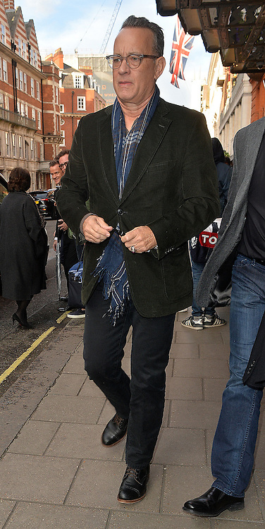 Actor Tom Hanks leaving Claridges Hotel in London, UK. 26/04/2016<br />