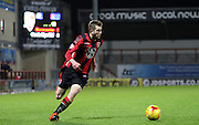 Tom Barkhuizen attacks during the Sky Bet League 2 match between Morecambe and Cambridge United at the Globe Arena, Morecambe, England on 24 November 2015. Photo by Pete Burns.