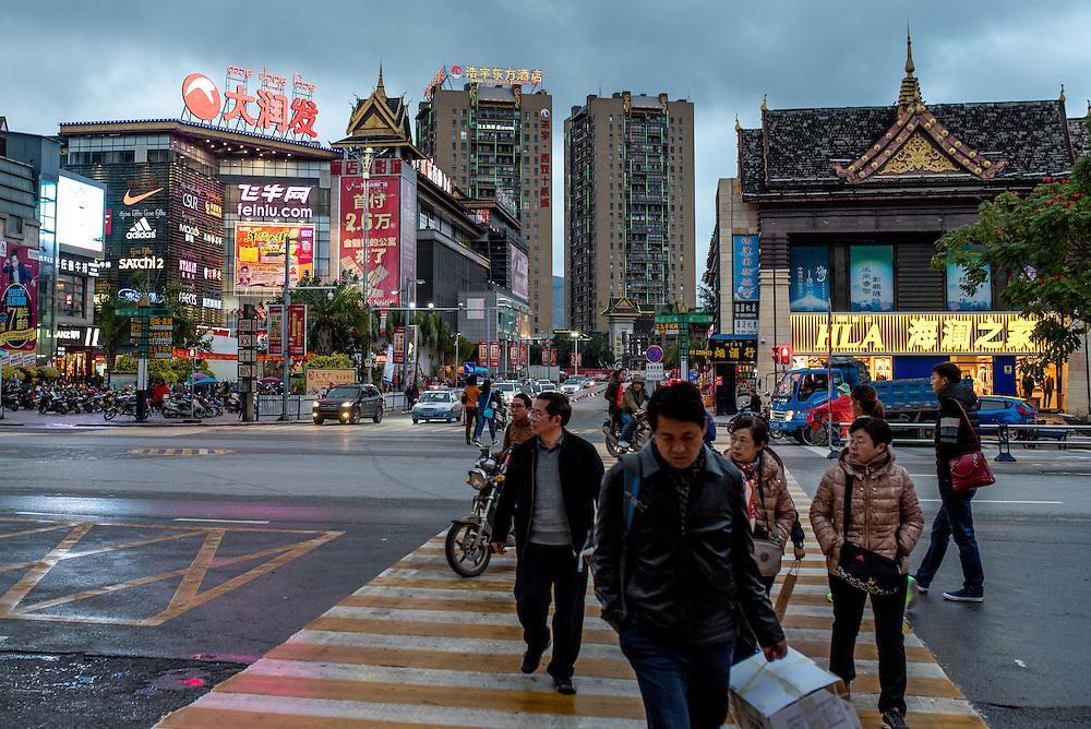 Evening in the city of Xishuangbanna, Yunan, China.