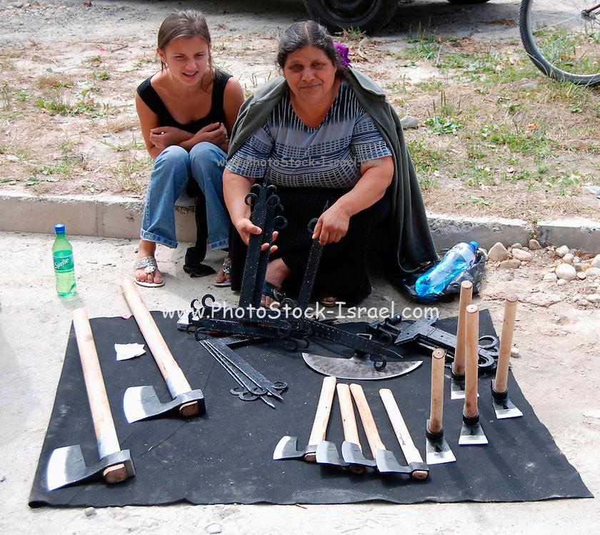 Bulgaria Bansko Local peasants selling goods at the market