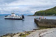 Calmac car ferry - Caldeonian MacBrayne vehicle ferries - arriving at Lochranza Ferry Port, Isle of Arran, Scotland
