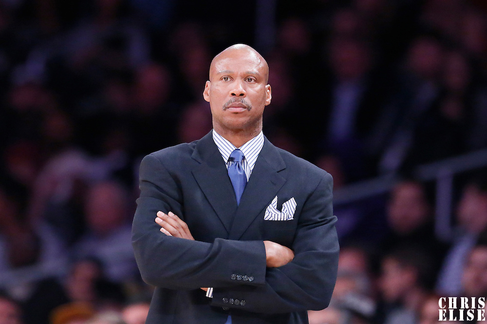 04 January 2014: Los Angeles Lakers head coach Byron Scott is seen during the Los Angeles Lakers 88-87 victory over the Indiana Pacers, at the Staples Center, Los Angeles, California, USA.