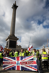 London, UK. 9th March, 2019. Pro-Brexit activists from Yellow Vests UK assemble in Trafalgar Square before a protest.