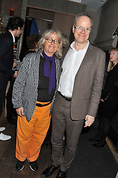 MARIANNE HESKE and HANS ULRICH OBRIST at a dinner to celebrate the opening of the Serpentine's Gallery new exhibition of work by Jonas Mekas held at Cassis, 232-236 Brompton Road, London SW3, London on 3rd December 2012.
