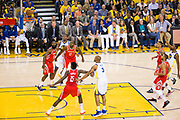 Golden State Warriors forward Kevin Durant (35) misses a free throw against the Houston Rockets during Game 6 of the Western Conference Finals at Oracle Arena in Oakland, Calif., on May 26, 2018. (Stan Olszewski/Special to S.F. Examiner)