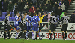 WIGAN, ENGLAND - TUESDAY, JANUARY 31st, 2006: Everton's xxxx and Wigan Athletic's xxxx during the Premiership match at the JJB Stadium. (Pic by Chris Brunskill/Propaganda)