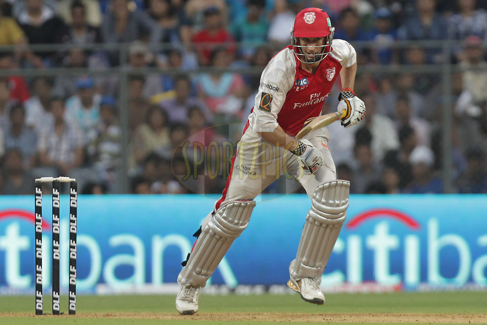 Kings XI Punjab player David Hussey takes a run during match 40 of the the Indian Premier League ( IPL ) Season 4 between the Mumbai Indians and the Kings XI Punjab held at the Wankhede Stadium, Mumbai, India on the 2nd May 2011..Photo by BCCI/SPORTZPICS..