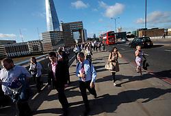 UK ENGLAND LONDON 21JUL15 - Commuters walk across London Bridge at the start of a working day in London.<br /> <br /> <br /> <br /> jre/Photo by Jiri Rezac / Greenpeace<br /> <br /> <br /> <br /> © Jiri Rezac 2015