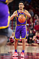 FAYETTEVILLE, AR - JANUARY 12:  Tremont Waters #3 of the LSU Tigers directs the offense during a game against the Arkansas Razorbacks at Bud Walton Arena on January 12, 2019 in Fayetteville, Arkansas.  The Tigers defeated the Razorbacks 94-88.  (Photo by Wesley Hitt/Getty Images) *** Local Caption *** Tremont Waters