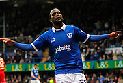 Craig Westcarr celebrates opening the scoring for Portsmouth during the Sky Bet League 2 match between Portsmouth and Morecambe at Fratton Park, Portsmouth, England on 22 November 2014.