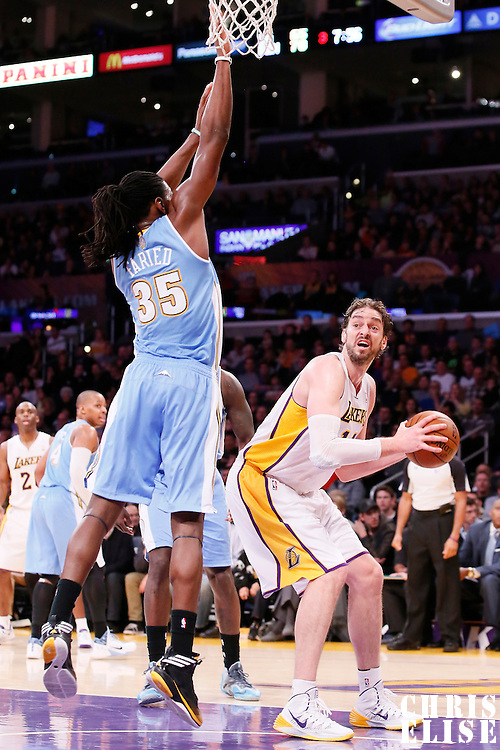 05 January 2014: Los Angeles Lakers center Pau Gasol (16) fakes Denver Nuggets power forward Kenneth Faried (35) during the Denver Nuggets 137-115 victory over the Los Angeles Lakers at the Staples Center, Los Angeles, California, USA.