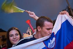 Fan with flag during Reception of Slovenian national baskteball team with Gold medal from Eurobasket 2017 - Istanbul and Slovenian women's U23 volleyball team with Silver medal from Women's U23 World Championships - Ljubljana, on September 18, 2017 in Kongresni trg, Ljubljana, Slovenia. Photo by Matic Klansek Velej / Sportida