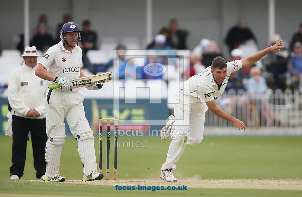 Picture by Paul Gaythorpe/Focus Images Ltd +447771 871632<br /> 08/06/2013<br /> Andrew Gale of Yorkshire County Cricket Club batting and Paul Franks of Nottinghamshire County Cricket Club bowling during day four of the LV County Championship Div One match at North Marine Road, Scarborough.